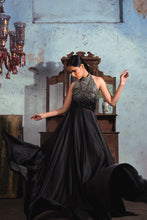 Load image into Gallery viewer, Black Armani satin halter neck flair gown with silver to black embellishment on yoke