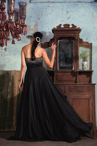 Black Armani satin halter neck flair gown with silver to black embellishment on yoke