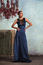 Load image into Gallery viewer, Midnight blue sleeveless sheer embellished deep V neck gown