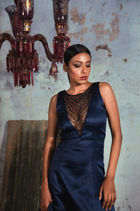 Midnight blue sleeveless sheer embellished deep V neck gown