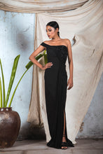 Load image into Gallery viewer, Black draped one shoulder gown with corset embellishment on other side and side slit