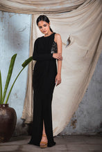 Load image into Gallery viewer, Black knit jersey one sided sleeve draped gown with corset embellishment and slit in the front