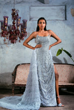 Load image into Gallery viewer, Greyish Blue Silver Line Embellished Sheath Gown with Ombre Ruffled Trail