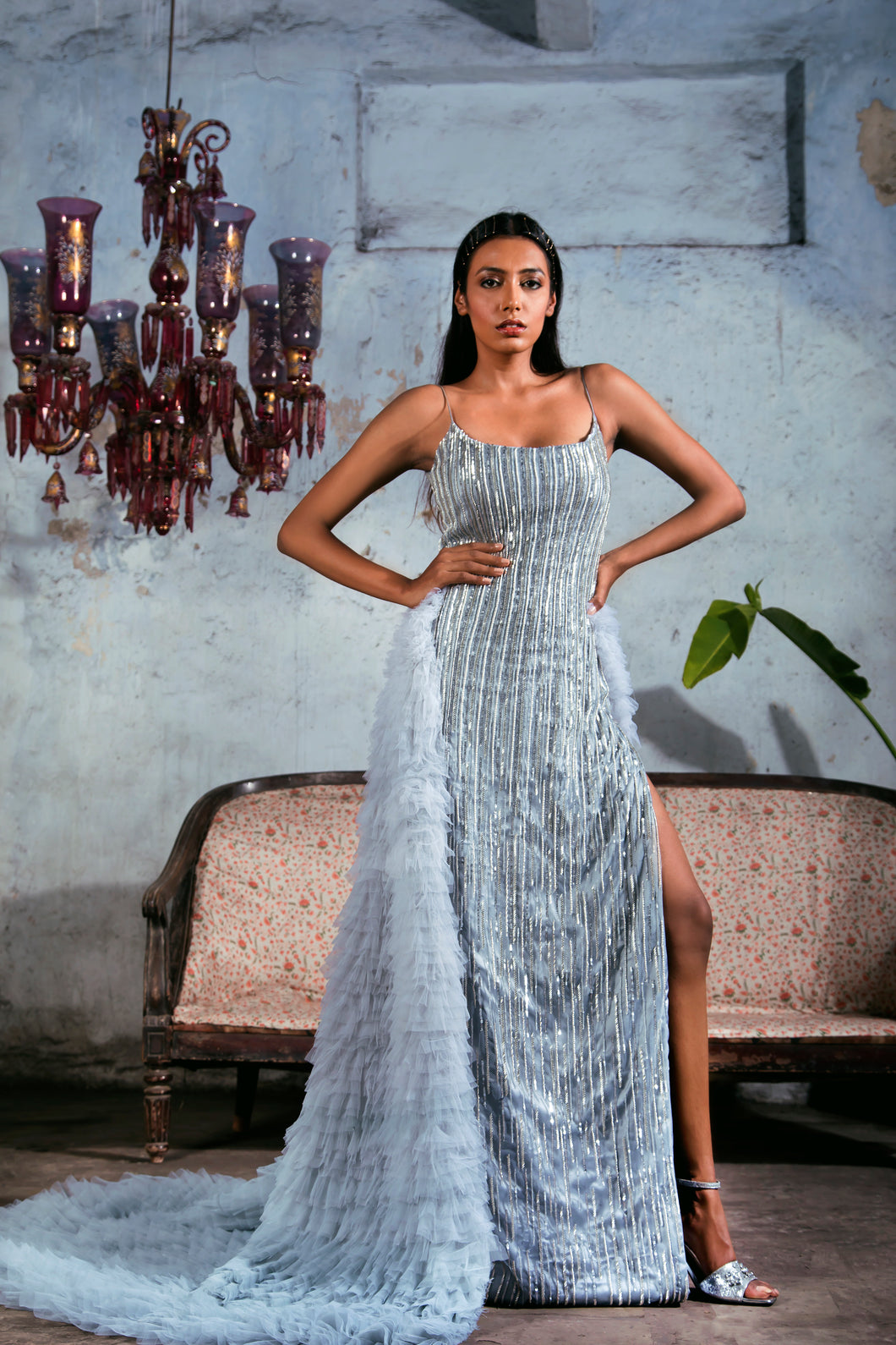 Greyish Blue Silver Line Embellished Sheath Gown with Ombre Ruffled Trail