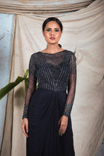 Load image into Gallery viewer, Black jersey draped gown with full sleeves and embellishment on the top and sheer embellished back