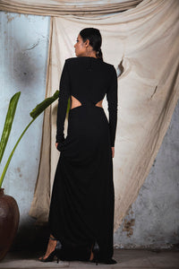 Black knit draped cut out Deep V neck gown