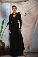 Load image into Gallery viewer, Black knit draped cut out Deep V neck gown