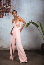 Load image into Gallery viewer, Peach Front Panelled embellished Halter Jumpsuit