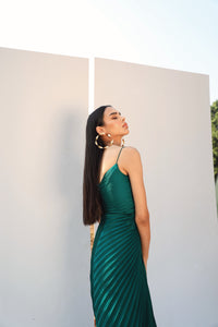 Bottle Green Pleated Draped Gown