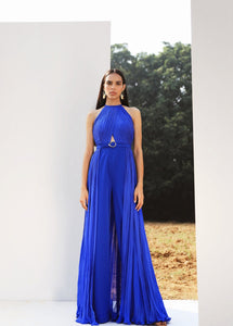 Royal Blue Draped Jumpsuit with Belt