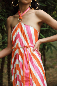 Striped Pleated Tie Up Dress with Metal Chain Belt
