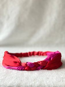 Braided Headband - Red & Pink