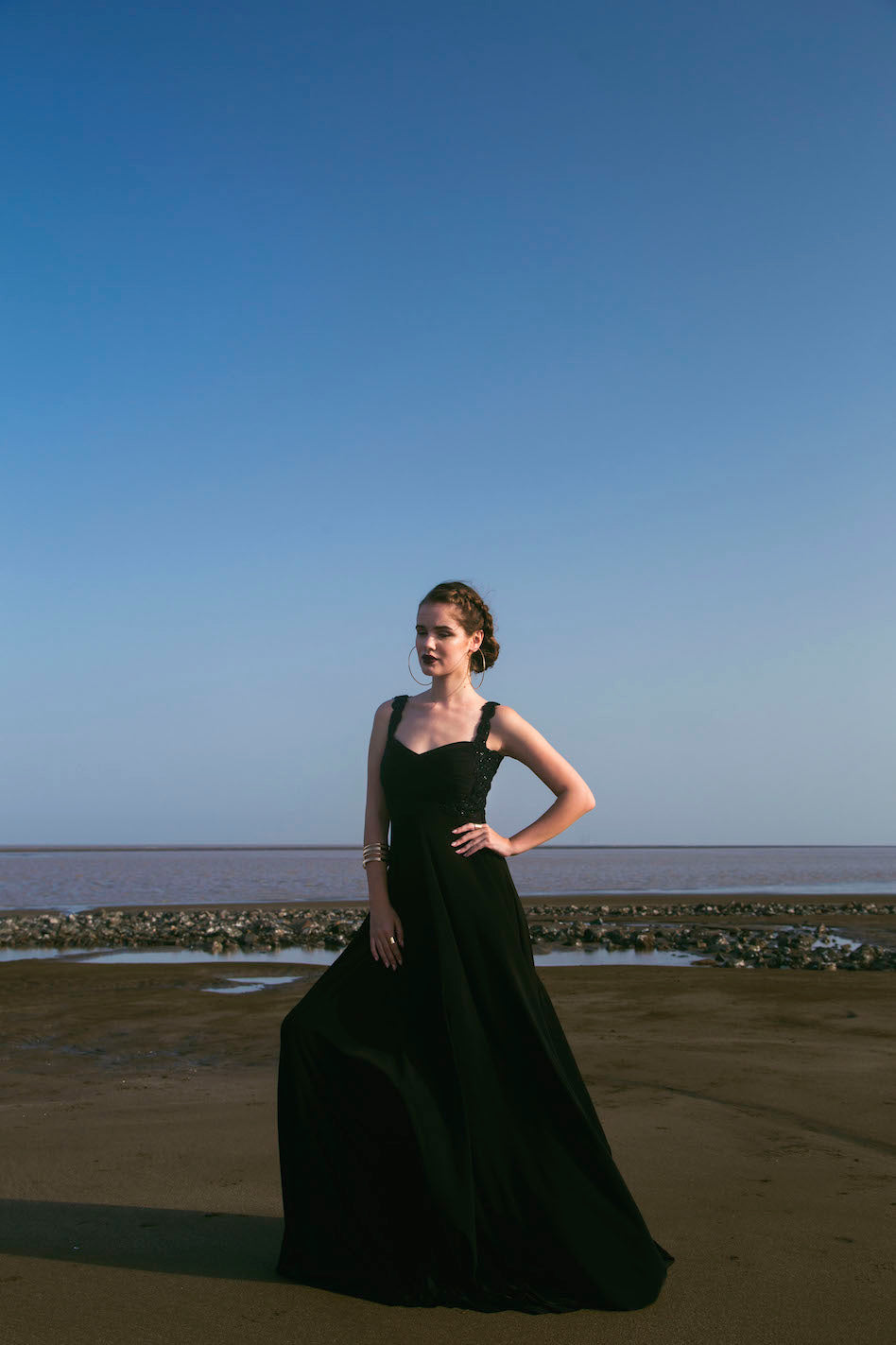 Black Jersey Embellished Draped Gown