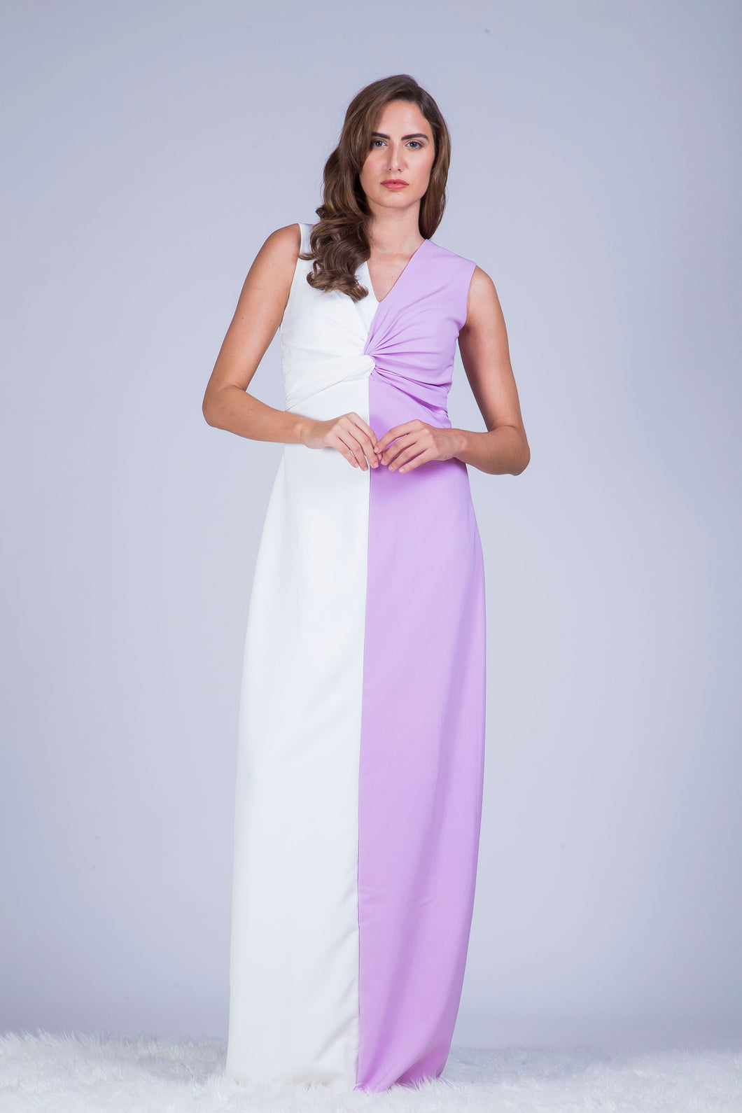 White and Lilac Colour Block Gown