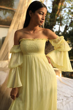 Load image into Gallery viewer, Lime yellow shirred chiffon dress with tiered balloon sleeves