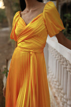 Load image into Gallery viewer, Yellow tie up dress with asymmetric heat pleated flare