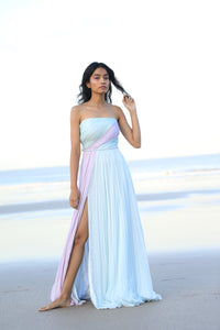 Mint and lilac chiffon draped dress with a braided belt