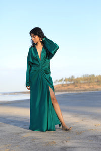 Green draped shirt dress
