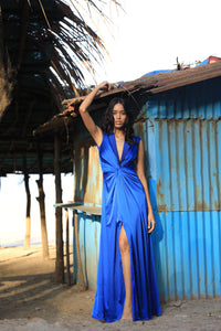 Blue draped blazer dress with ombre handwork