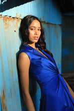 Load image into Gallery viewer, Blue draped blazer dress with ombre handwork