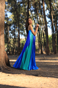 Blue and green colour blocked heat pleated gown
