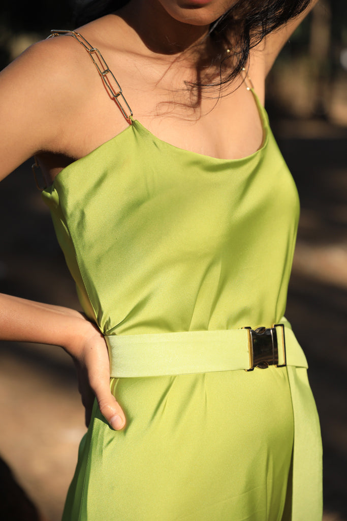 Citrus slip dress with chain straps and a belt