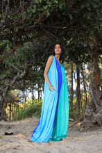 Load image into Gallery viewer, Blue and green printed jumpsuit with pockets