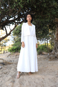 White turkish cotton dress with pleated panels and a cropped blazer