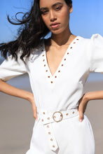 Load image into Gallery viewer, White jumpsuit with rivet detailing