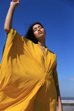 Load image into Gallery viewer, Yellow Kaftan dress with blue hem detailing along the sleeves