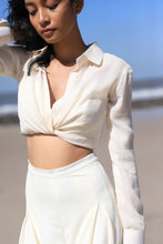 Load image into Gallery viewer, Ivory draped shirt with wide pleated pants