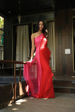 Load image into Gallery viewer, Red and pink draped slit jumpsuit