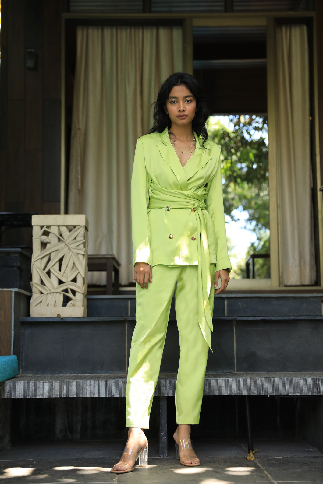 Citrus satin twill blazer and pant set
