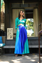 Load image into Gallery viewer, Blue and green colour block heat pleated skirt with a draped shirt