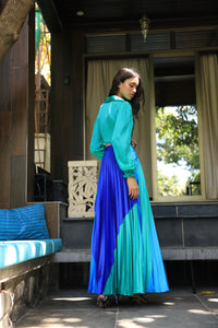 Blue and green colour block heat pleated skirt with a draped shirt