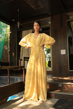 Load image into Gallery viewer, Mustard gathered textured tie up gown