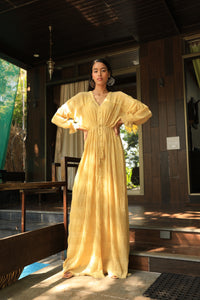 Mustard gathered textured tie up gown