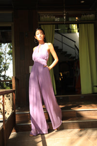 Purple pleated jumpsuit