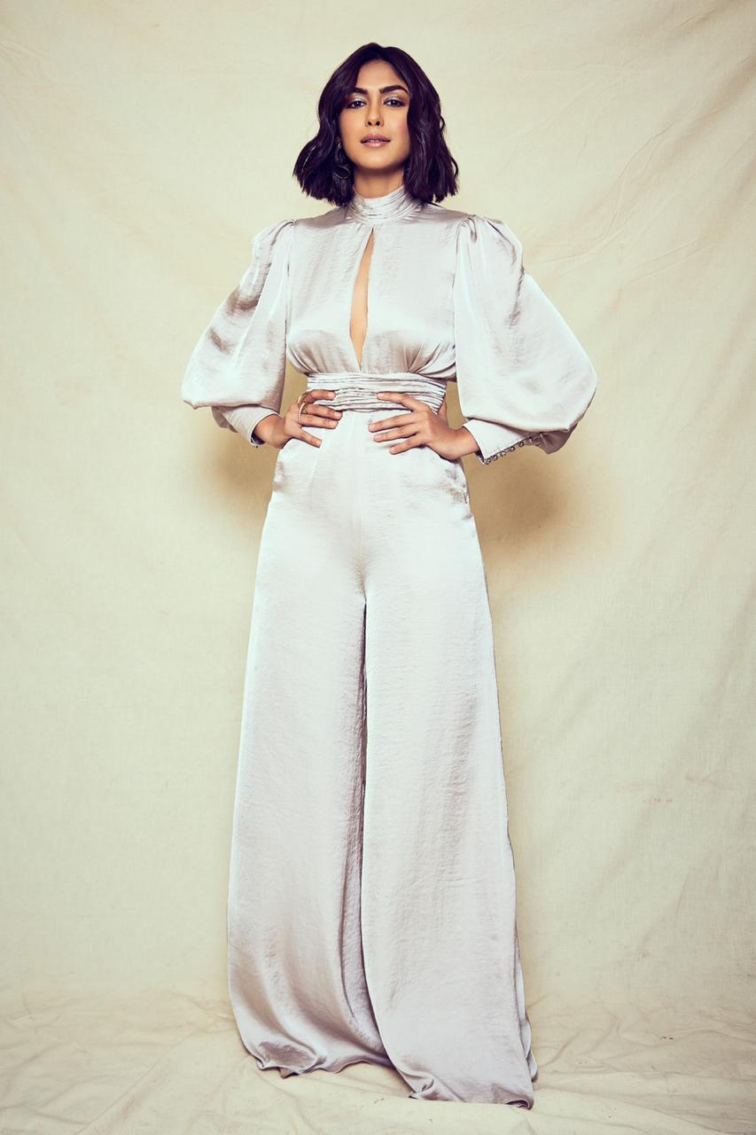 Cool grey hammer satin jumpsuit with keyhole neckline and cut out at back
