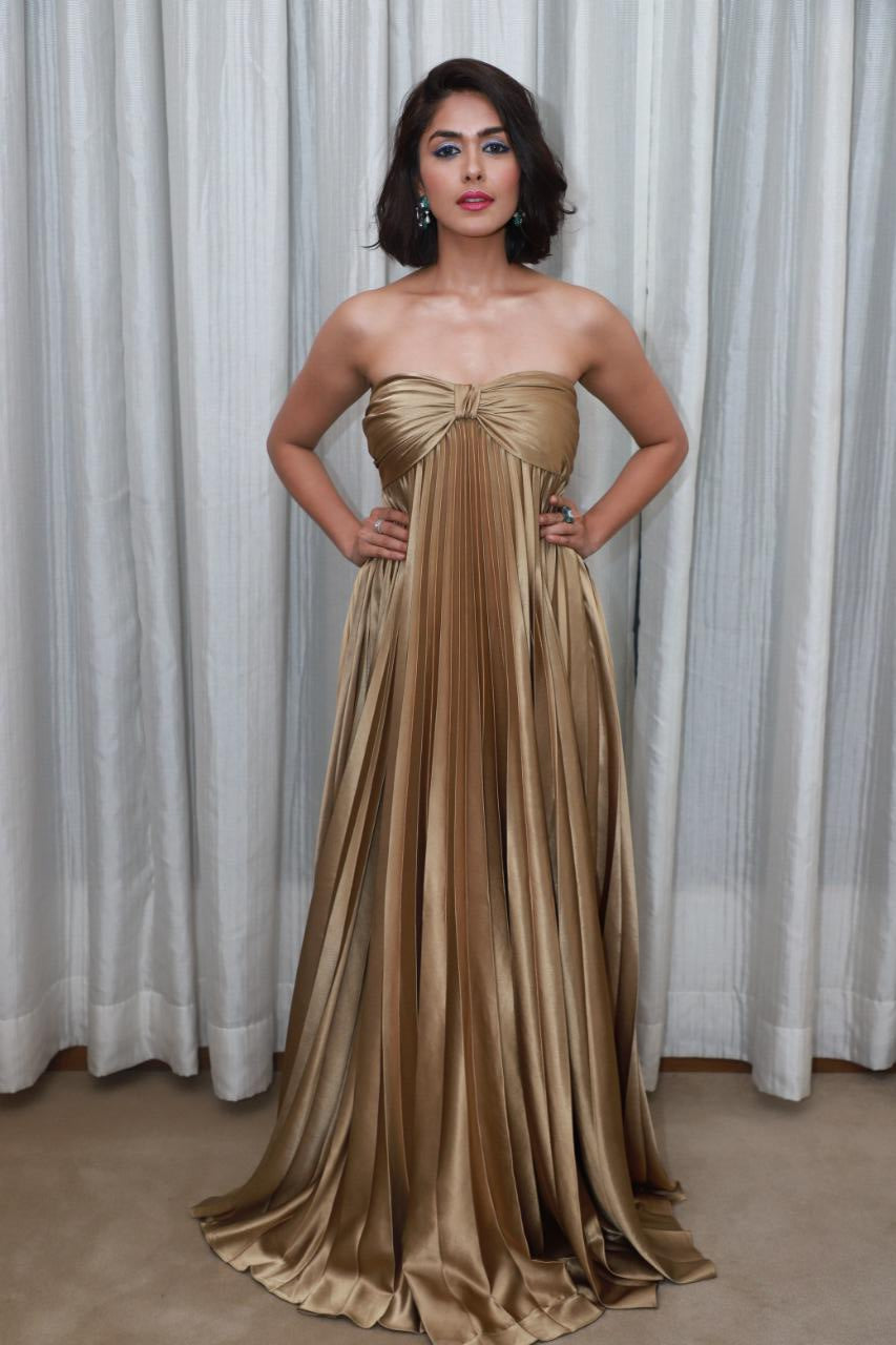 Golden Pleated Tube Gown with Bow