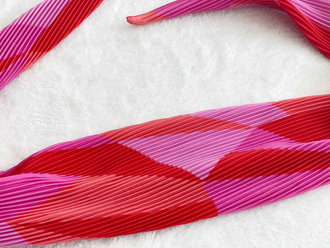 Pleated Head Scarf - Red and Pink