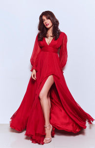 Red chiffon bishop sleeves deep V-neck drape gown
