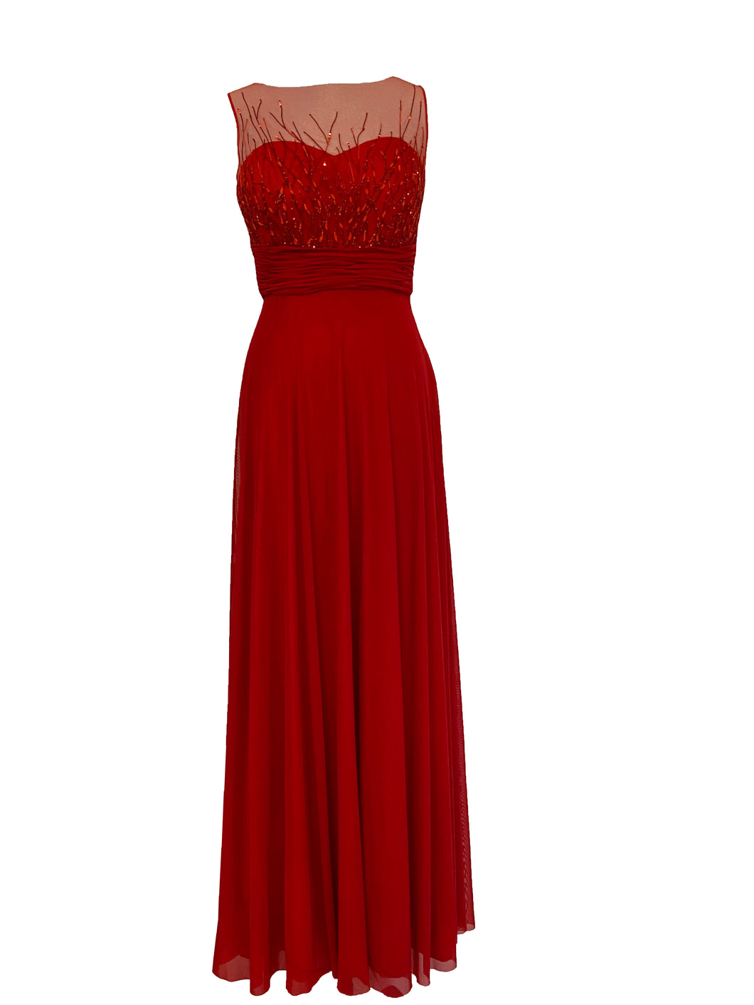 Red Stretch Net Abstract Embellished Gown