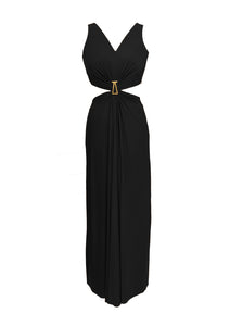 Draped Cutout Gown with Signature Zwaan Buckle