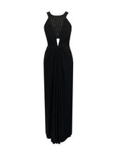 Load image into Gallery viewer, Black jersey draped gown with cut at waist and salli embellishment