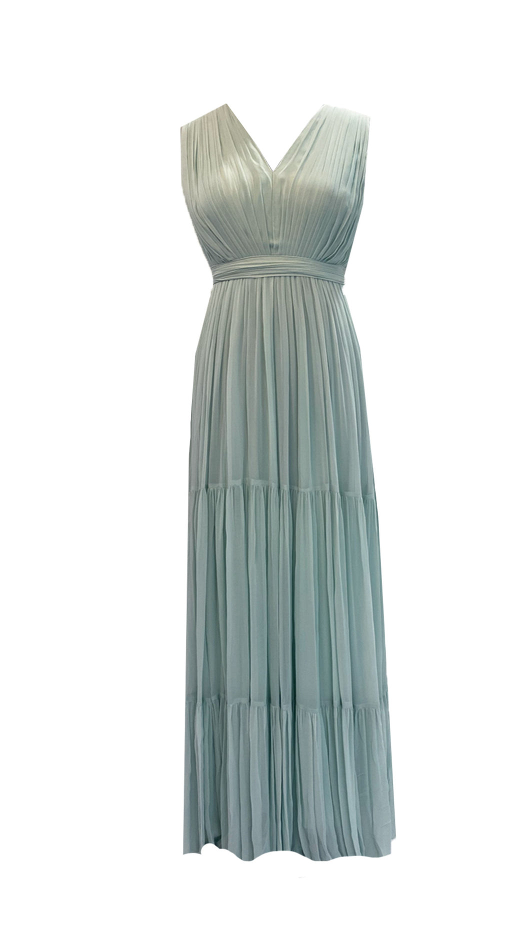 Mint Draped Tiered Gown