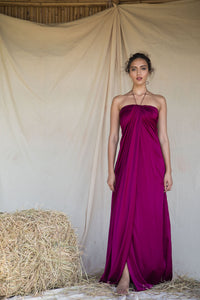 Magenta Tube Draped Gown