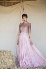 Load image into Gallery viewer, Pinkish Mauve Ombre Line Hand Pleated Georgette Gown
