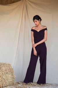 Plum Off Shoulder Jumpsuit