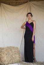 Load image into Gallery viewer, Violet and Black Color Block Draped Gown